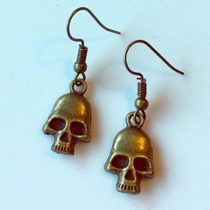 Hand Crafted Skull Earrings Brass