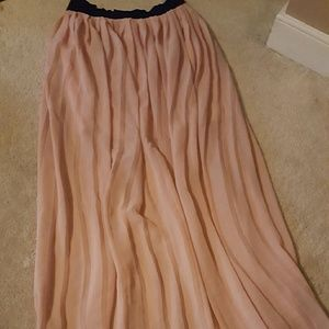 Long, Pink, sheer,  pleated skirt