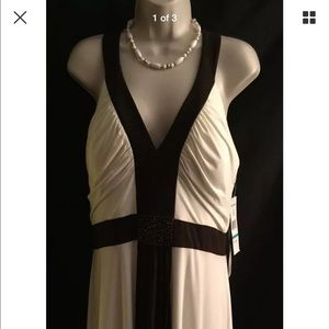 Jessica Howard Dresses & Skirts - Jessica Howard Ivory and Brown Dress Size 16