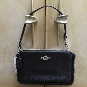 Coach Handbags - COACH BLACK LEATHER/SHEARLING Wristlet/fits iPhone