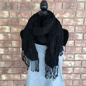 Accessories - Black Tassel Scarf