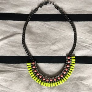 Neon yellow and neon pink statement necklace