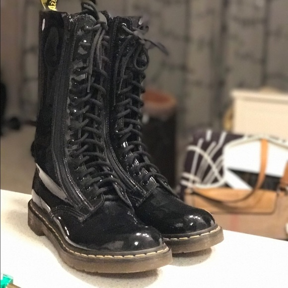 bc8892b6d71 Dr. Martens patent leather 14-eye tall boots