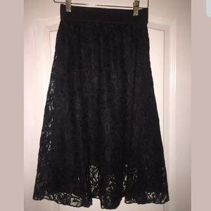 Lularoe Lola Black Lace Overlay Skirt - NWOT