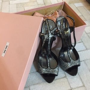 BEAUTIFUL MIU MIU GLITTER HEELS - 40