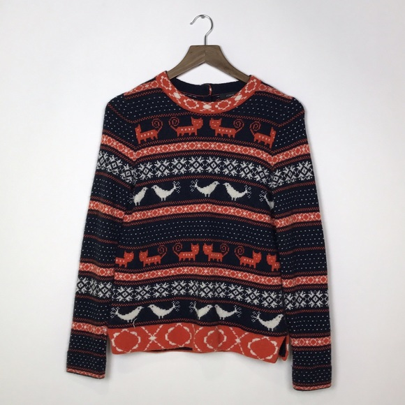 64% off J. Crew Sweaters - [J Crew] Farmyard Fair Isle Sweater Cat ...