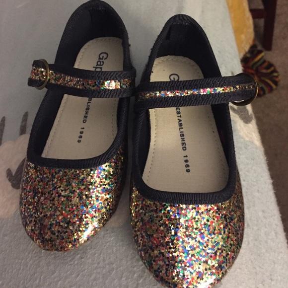 Baby Gap Girl/'s Rainbow Glitter Mary Jane Ballet Flat Shoes Size 6 NWT
