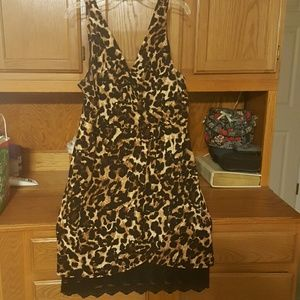 Leopard-Print Lace-Trim Dress