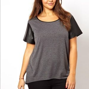 ASOS CURVE gray t-shirt with leather like sleeves