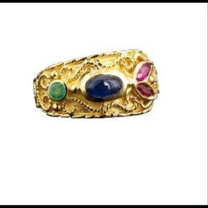 Jewelry - 18k sapphire, emerald, Ruby, fashion ring, band