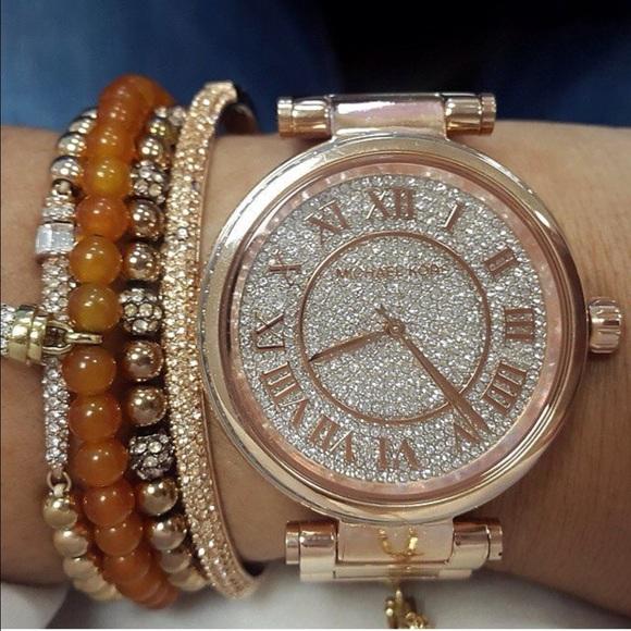 4a1f9d050592 🎄🎁MK Skylar Crystal Pave Dial Rosegold Watch
