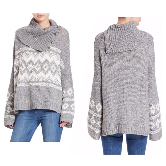 70% off Free People Sweaters - Free People Fair Isle Split Neck ...
