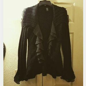 Free People Sweaters - Black Ruffled Cardigan Sweater Ruffles Gothic L