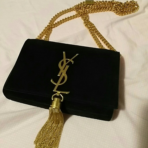 9fd9a29a29f71 Used YSL gold chain suede bag. M 583a9494620ff713a40b303a