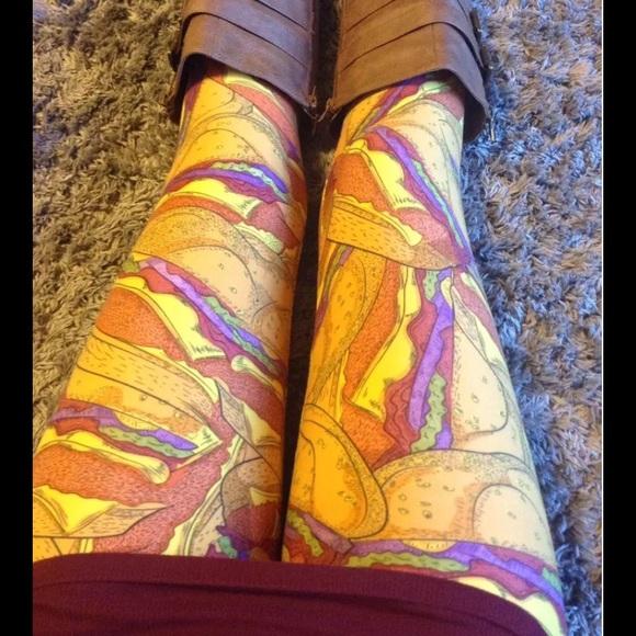 Lularoe Pants Tween Cheeseburger Leggings New Poshmark