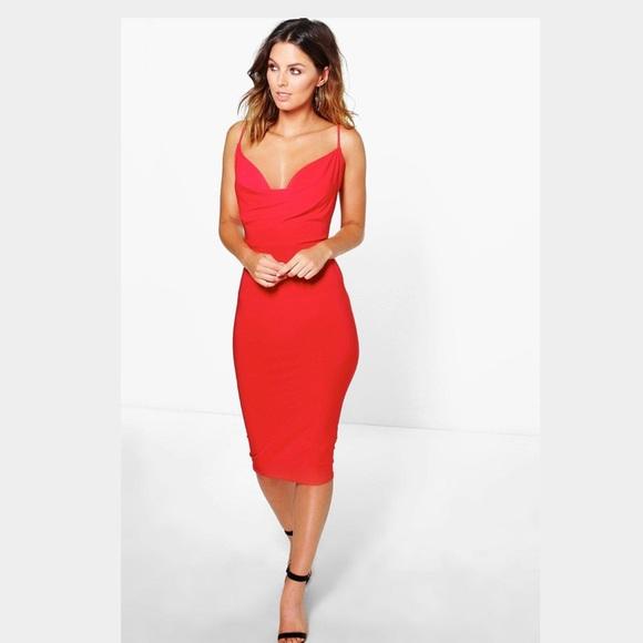 de8a706d1b7c5 Boohoo Dresses   Red Knee Length Spaghetti Strap Dress   Poshmark