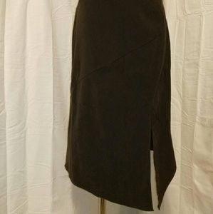 Cato size 6 assymetrical dark brown skirt w/ slit