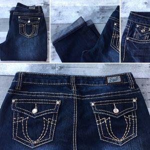 Earl Jeans Denim - EarlJeans crop/capris Rhinestone stud thick stitch