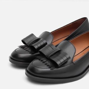 ZARA leather Loafers with Bow