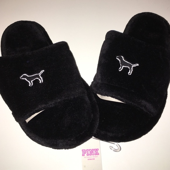 d2b5b4b3caa3af Victoria secret pink slippers black