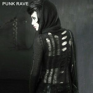 Punkrave Sweaters - Black Distressed Mohair Sweater Gothic Punk Grunge