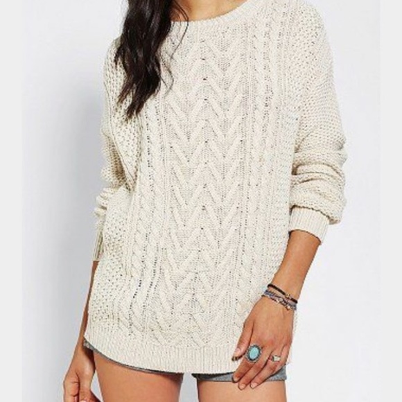 53% off BDG Sweaters - Oversized Cream Cable Knit Sweater - Sz. M ...