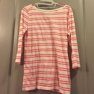 EUC - LOFT coral striped tee - 3/4 sleeve - size S