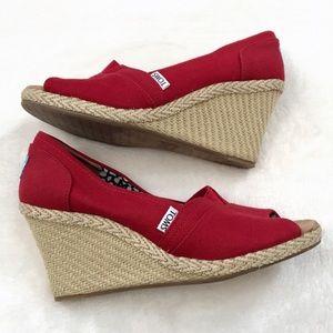 TOMS Espadrille Wedge Heels Sandals Red
