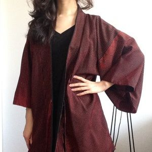 Tops - Red Black Kimono Bathrobe Top Tie Front One Size