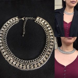Jewelry - Silver and sparkle statement necklace
