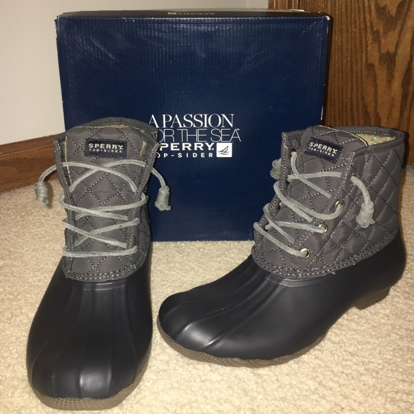 New Sperry Topsider Gray Duck Boots