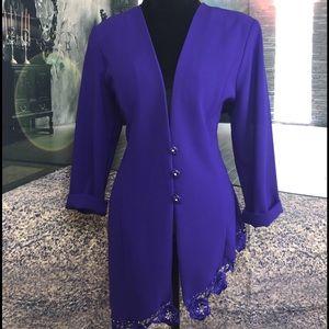 Vintage Dark Purple Slanted Low-cut Blazer