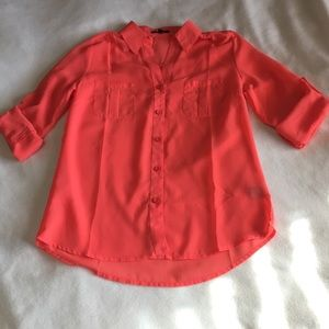 NWT sheer peach button up blouse size small