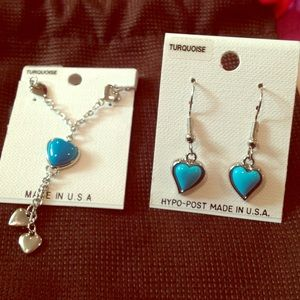 Jewelry - Silver & turquoise heart earrings & necklace