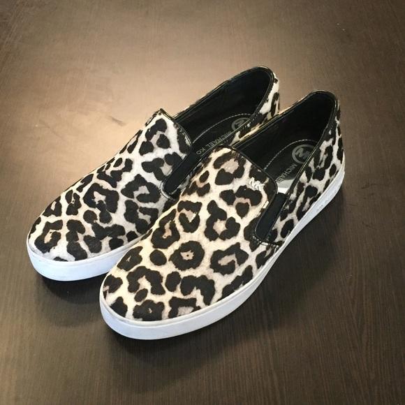 0d998f17e033 Michael Kors Leopard Print Slip On Calf Hair Shoes.  M 583b2517ea3f36d3b30ca93c
