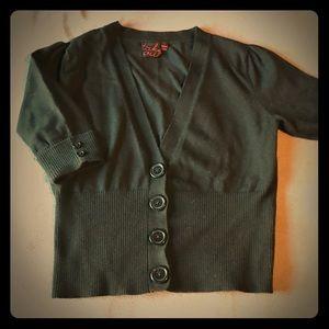 Cropped black cardigan sweater