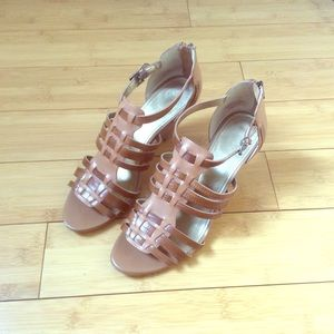Shoes - Brown Strappy Low Heels