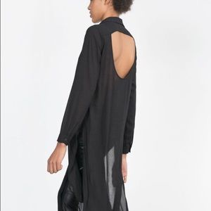 Zara open back long tunic top XS