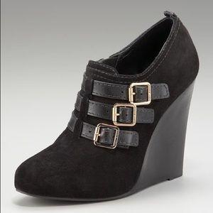 Tory Burch Shoes - Tory Burch Gabriel High Wedge Black Suede Bootie