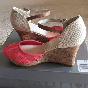 APT 9 Lace platform wedge sandals