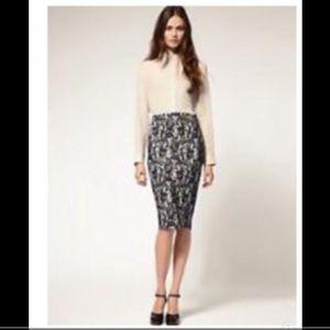 NWT ASOS Navy blue lace cream pencil skirt 6