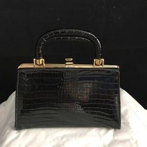 Authentic Original Vintage Style Handbags - Black antique bag with gold trim.