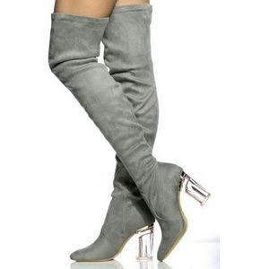 starlight footwear  Shoes - Pink Glass Heel, Grey Suede / Over The Knee Boots