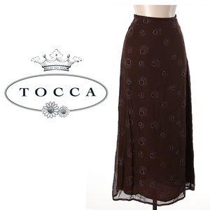 Tocca Dresses & Skirts - TOCCA Long Brown Printed BOHO Silk Skirt Sz 6