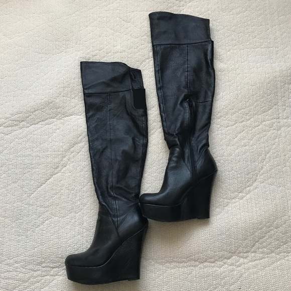 Aldo over the knee wedge boots sz 6 will fit 6.5/7