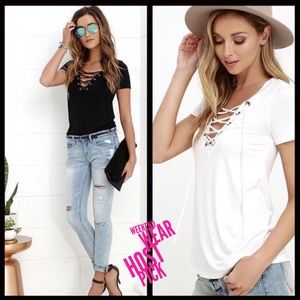 Tops - ALMOST GONE‼️Lace up Top