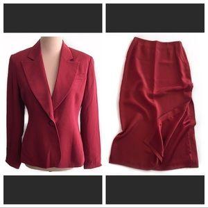 NWOT J. Peterman silk side slit skirt suit- vtg