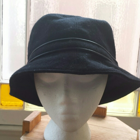 b12cf21899e Coach Accessories - Coach black wool bucket hat w leather trim