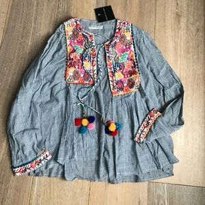 Goodnight Macaroon Tops - Boutique open embroidered cardigan
