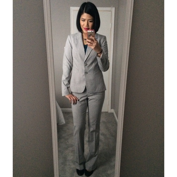 The Limited - The Limited Light Gray Suit with Wide Leg Pants from